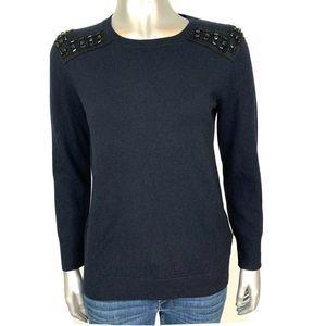 J. Crew Black Cashmere Embellished Sweater XS